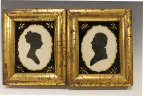 Eglomise Silhouette Portraits In Giltwood Frames