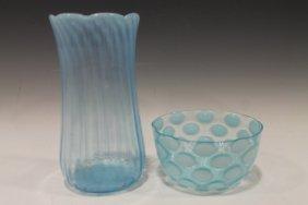 Blue Opalescent Victorian Celery & Finger Bowl