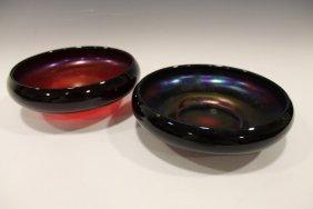 Loetz Low Bowls - Iridescent Red
