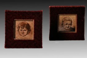 1881 - 1920 Pair Framed Portrait Tiles, A. E. T. Co.