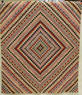 Postage Stamp Patchwork Quilt, Early 1900s