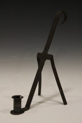 18th C Wrought Iron Candle Lamp / Book Stand