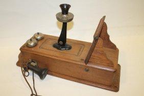 Oak Wall Telephone - Kellogg, Buzzer Button