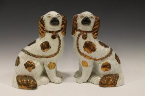 Pair Copper Luster Staffordshire Dogs