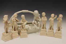Parian Porcelain Musicians & Basket - Putti