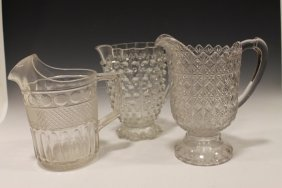 Late 19th C Pattern Glass Water Pitchers