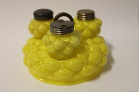 Victorian Yellow Cased Glass Bulging 3-petal Condiment