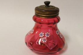 Optic Ribs Bulging Decorated Cranberry Sugar Shaker
