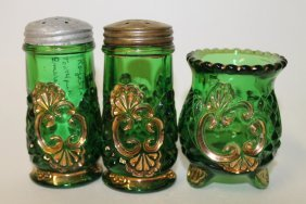 Emerald Green Croesus Toothpick & Salt Shakers