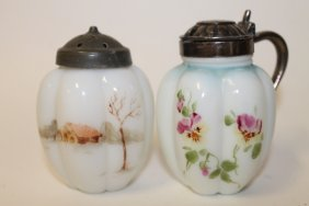 Victorian Gillinder Mustard Pot & Scenic Salt Shaker