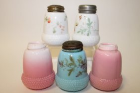 Victorian Colored Glass Salt Shakers - Acorn