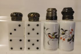 Libbey Glass Co. Double Dice / Domino Pair Salt Shakers