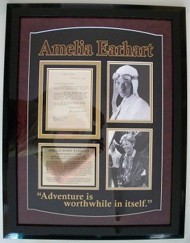Amelia Earhart Signed Framed Letter. Overall Size 30 X