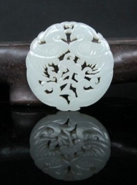 A Fine White Jade Carved Plaque