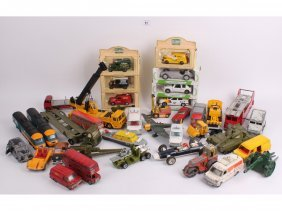 A Quantity Of Vintage Dinky Cars, Vans, Army Vehicl