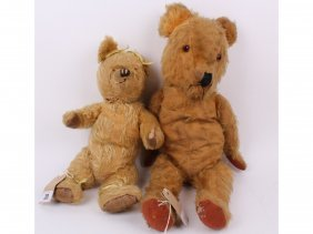 Two Golden Mohair Jointed English 1940s Teddy Bears