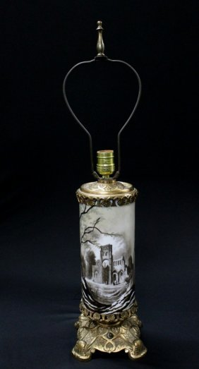 19TH CENTURY BACARRAT GLASS AND BRONZE TABLE LAMP