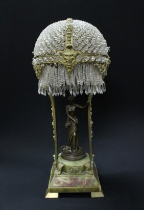 19TH CENTURY GILT BRONZE LAMP WITH A PATINATED BRONZ