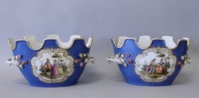 PAIR OF MEISSEN FLOWER POTS WITH EMBOSED FLOWERS