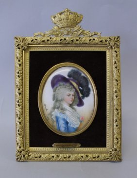 19TH CENTURY IVORY MINIATURE IN GILT BRONZE FRAME
