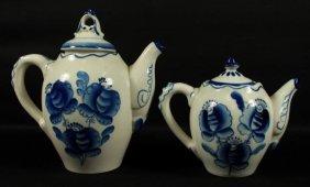 Pair Of Russian Porcelain Teapots