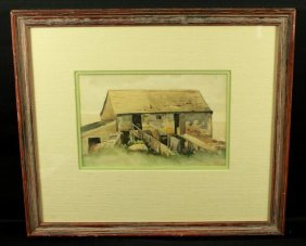Framed Watercolor Of Barn