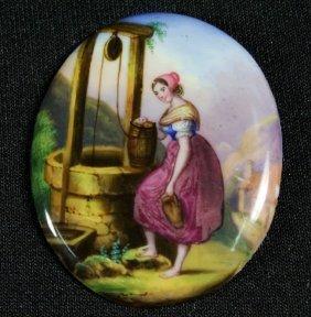 German Porcelain Plaque Of Woman