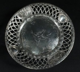 Continental Silver Round Tray Cherub Design