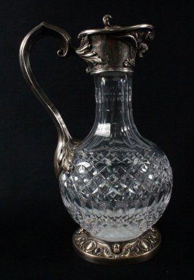 Silver Mounted Cut Crystal Covered Ewer With Hinged