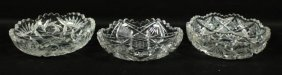 Set Of 3 Baccarat Style Cut Gass Dishes