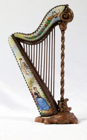 Viennese Enamel Miniature Harp