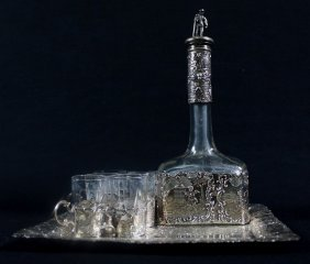 19th C Continental Silver Cordial Set