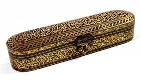 19th C Qajar Gilt Penbox With Ink Dipper
