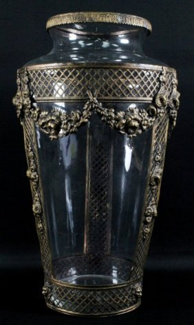 Large Glass And Gilt Vase