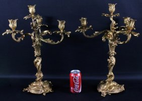 Pair Of French Style 4 Light Bronze Candelabra