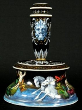 A Limoges Enamel Candlestick Having A Capstan