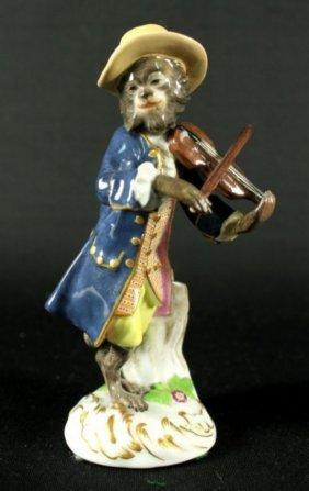 Meissen Figure Of Monkey Band Violin Player
