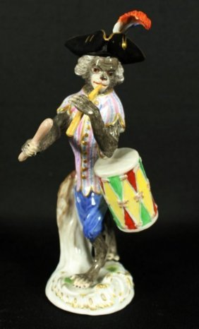 Meissen Porcelain Monkey Band Drummer Figurine