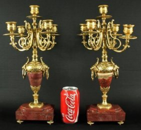 Pair Of Brass And Rouge Marble 5 Arm Candelabra