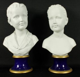 "Pair Vintage Signed ""pucci"" Porcelain Busts By Kpm"