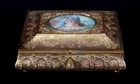 Antique Bronze Ornate Box With Signed Painting On Ivory