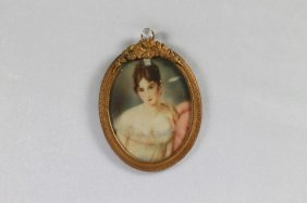 Bronze Frame With Signed Oval Miniature Portrait Of A