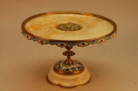 Antique French Champleve Bronze/onyx Tazza