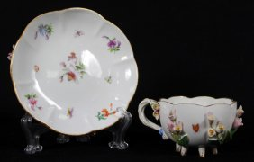 19th C. Applied Floral Meissen Cup And Saucer