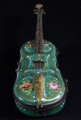 French Enamel Porcelain Violin Shaped Box