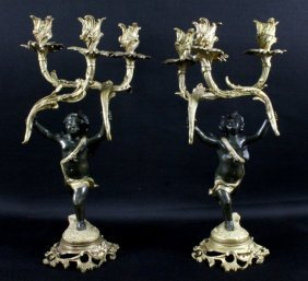 Pair Of Figural Gilt Candelabras