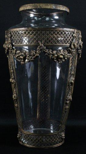 Large Gilt Metal And Crystal Vase