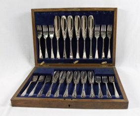 24 Pc. English Silver Plate Silverware Set