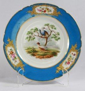 Paris Porcelain Ornithological Plate, Decorated By