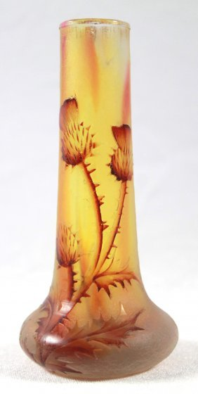 Antique Daum Nancy Thistle Vase, Signed With The Cross
